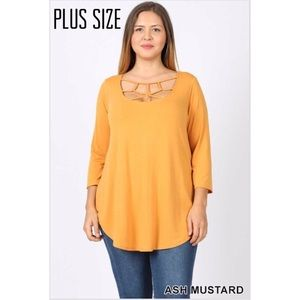 Tops - Plus Size Ash Mustard Web Detail Top